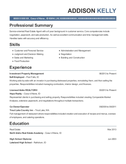 Investment Property Management resume template Idaho