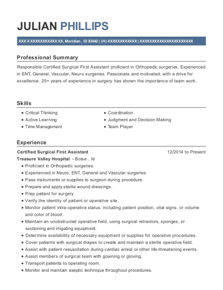 Certified Surgical First Assistant resume template Idaho
