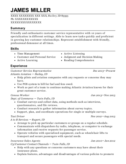 Customer Service Representative resume format Idaho