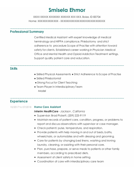Home Care Assistant resume example Idaho