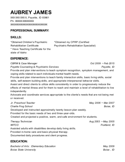 CBRW & Case Manager resume format Idaho