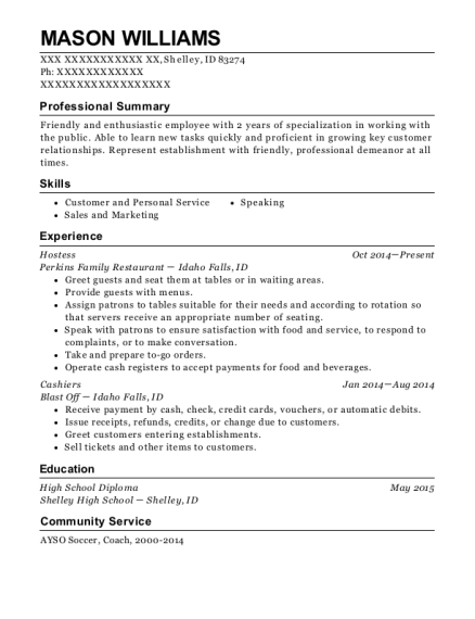 Hostess resume example Idaho