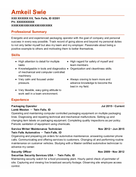 Packaging Operator resume template Idaho