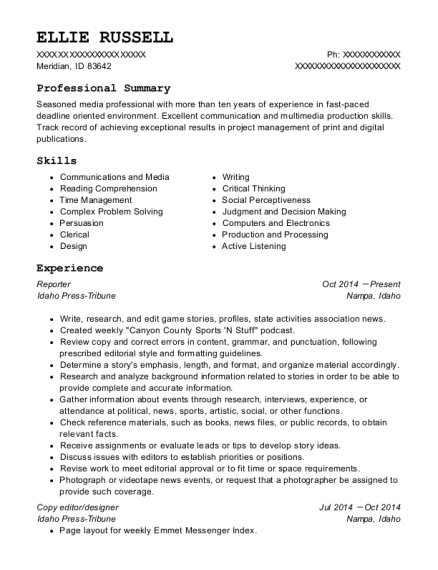 Reporter resume sample Idaho