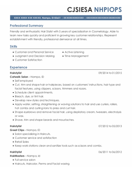 Hairstylist resume example Idaho