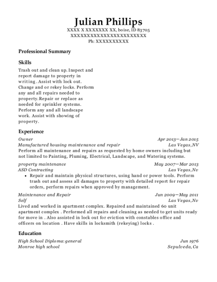 Owner resume example Idaho