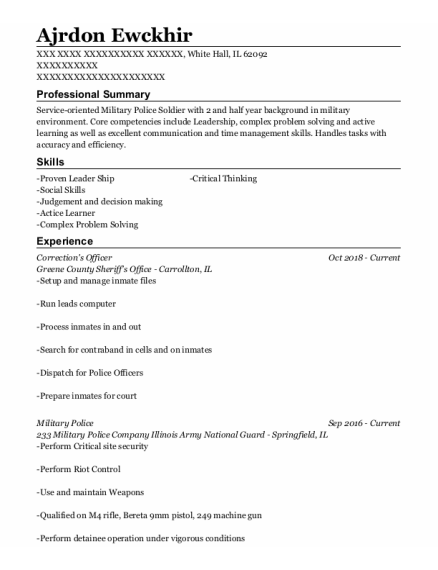 Corrections Officer 2 resume template Illinois