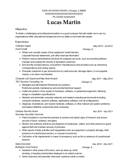 Collection Agent resume sample Illinois