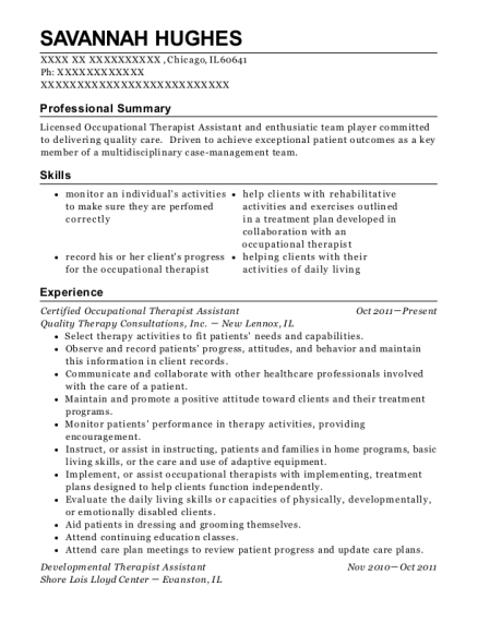 Certified Occupational Therapist Assistant resume format Illinois
