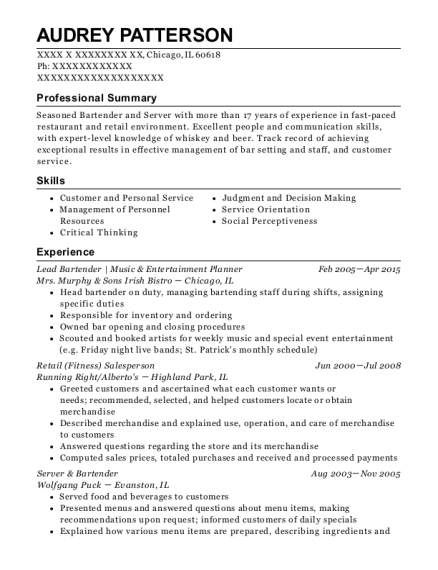 Lead Bartender Music & Entertainment Planner resume sample Illinois
