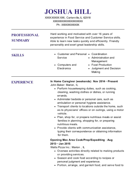 In Home Caregiver resume sample Illinois