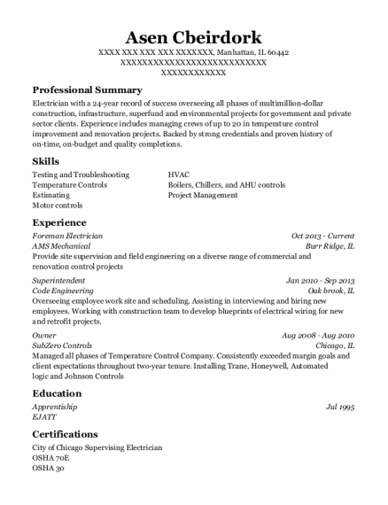 Foreman Electrician resume template Illinois