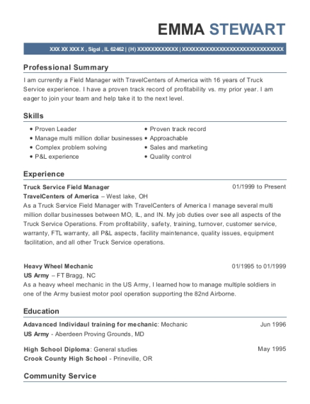 Truck Service Field Manager resume format Illinois