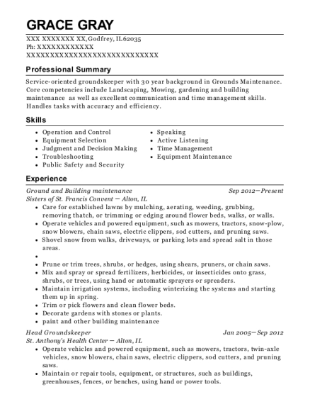 Ground and Building maintenance resume example Illinois