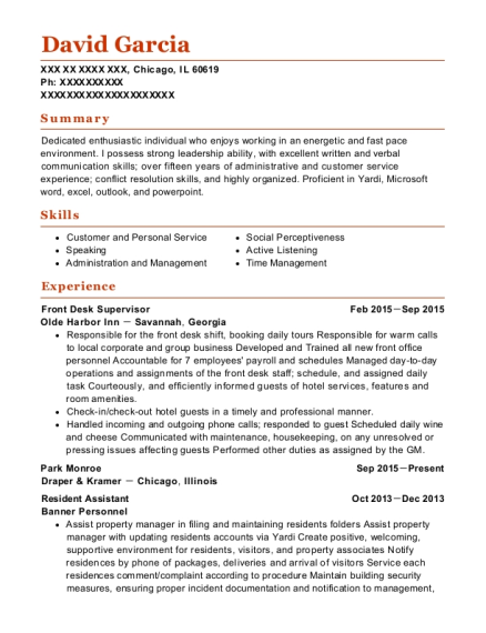 Front Desk Supervisor resume example Illinois