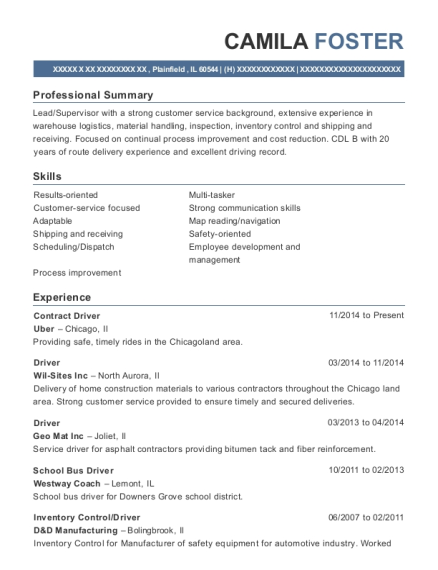 Contract Driver resume format Illinois