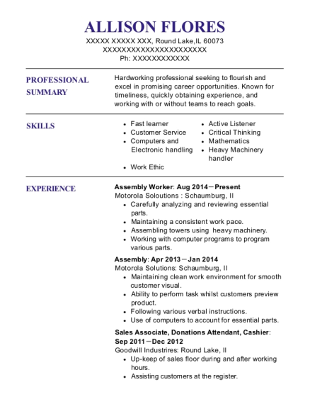 Assembly Worker resume template Illinois