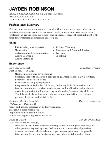 Day Care Assistant resume format Illinois