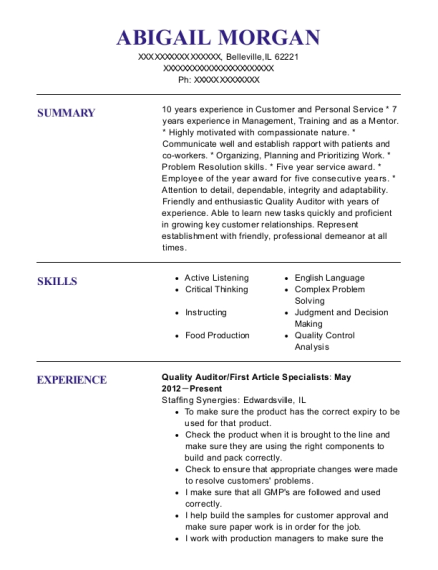 Quality Auditor resume template Illinois