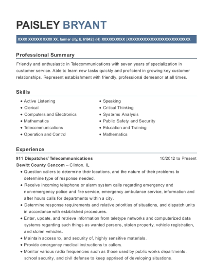 911 Dispatcher resume sample Illinois