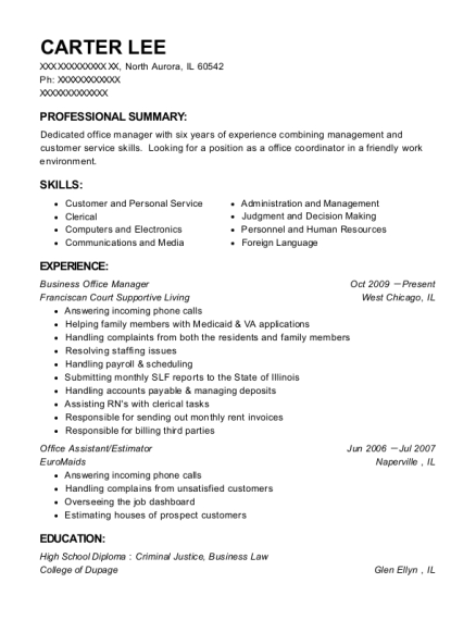 Business Office Manager resume template Illinois