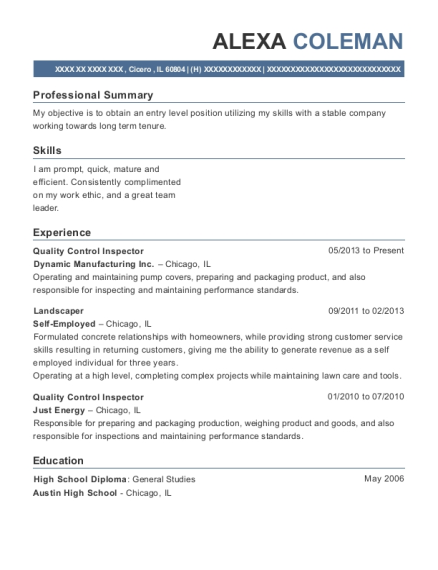 Quality Control Inspector resume template Illinois