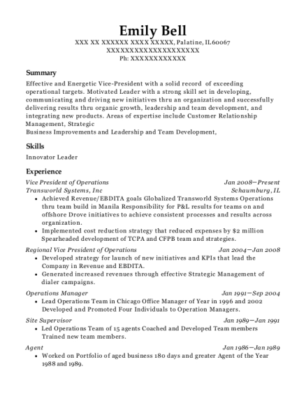 Vice President of Operations resume format Illinois