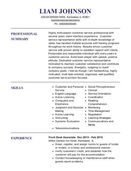 Front Desk Associate resume example Illinois