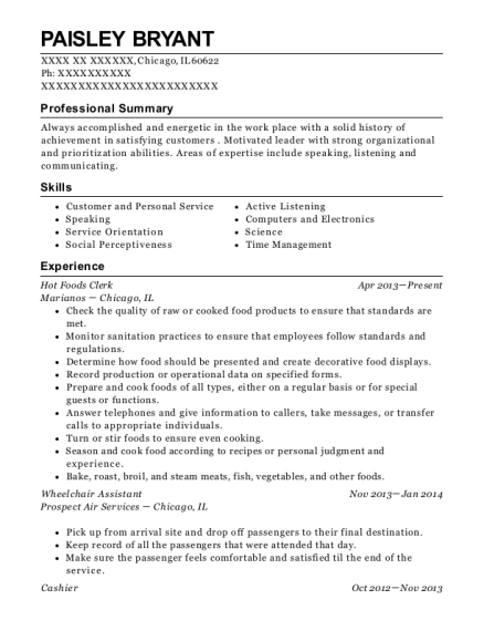 Hot Foods Clerk resume template Illinois