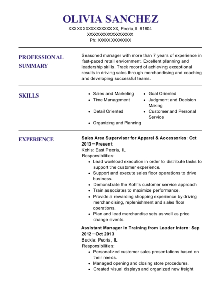 Sales Area Supervisor for Apparel & Accessories resume format Illinois