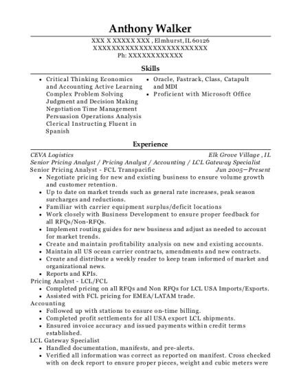 Senior Pricing Analyst resume example Illinois