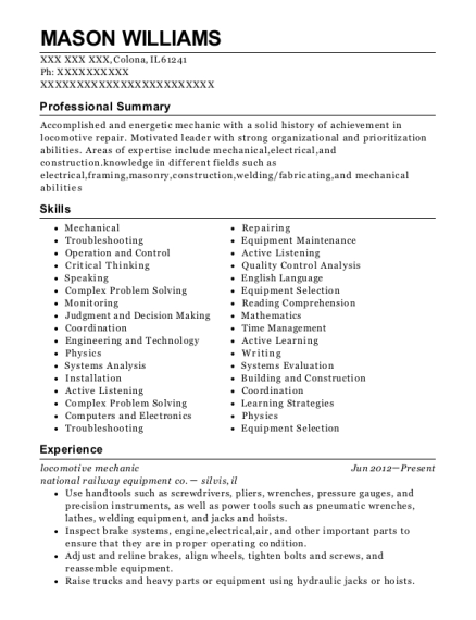 locomotive mechanic resume sample Illinois