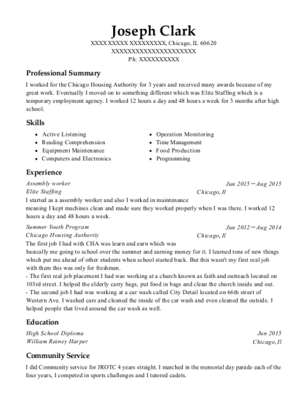 Assembly worker resume sample Illinois