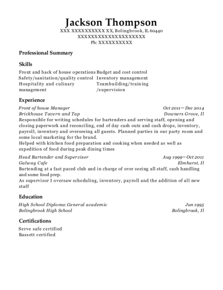 Best Front Of House Manager Resumes