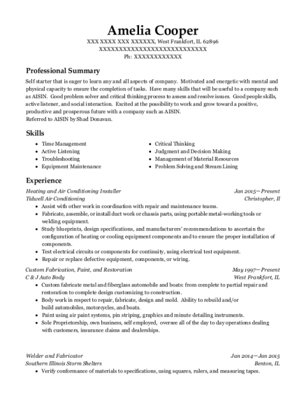 Heating and Air Conditioning Installer resume template Illinois