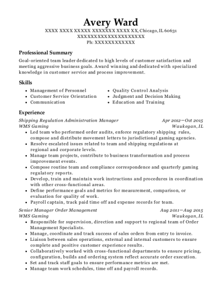 Shipping Regulation Administration Manager resume template Illinois