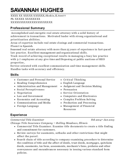 Commercial Title Examiner resume template Illinois