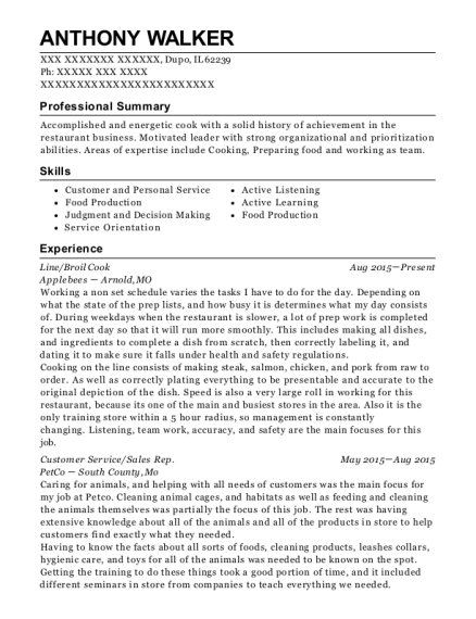 Line resume sample Illinois