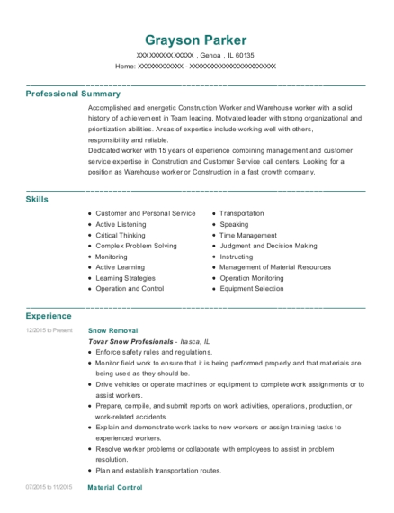 Snow Removal resume format Illinois