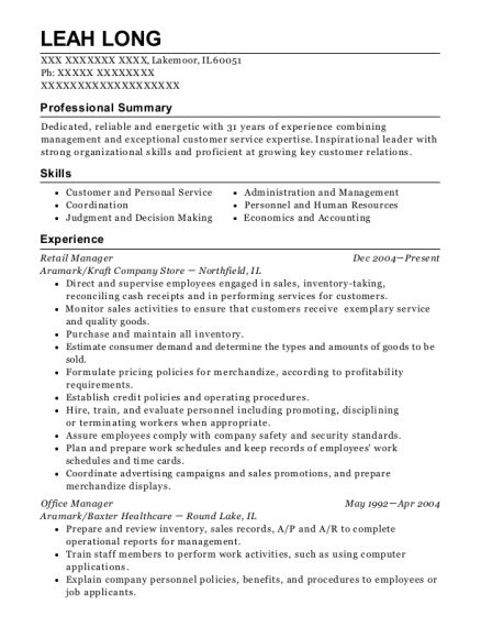 Retail Manager resume format Illinois