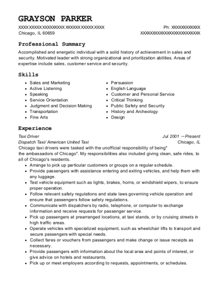 Taxi Driver resume format Illinois