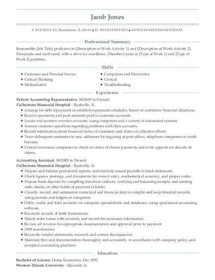 Patient Accounting Representative resume sample Illinois