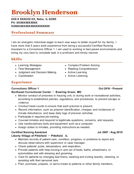 Corrections Officer 1 resume format Illinois