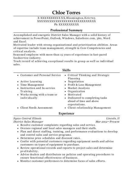 District Sales Manager resume sample Illinois