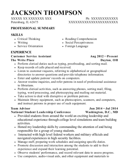 Customer Service Assistant resume format Illinois