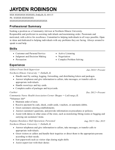 Gilbert Front Desk Supervisor resume example Illinois