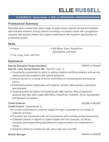 Special Education Paraprofessional resume sample Illinois