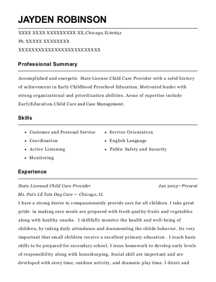 Daycare Provider Licensed Child Care Resume Sample