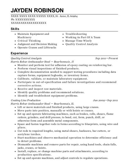 Quality Control Analysts resume template Illinois