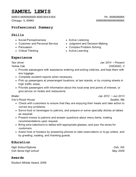 Taxi Driver resume example Illinois
